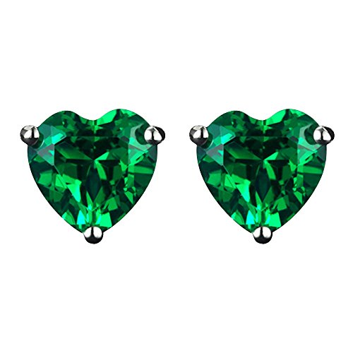 Navachi 925 Sterling Silver 18k White Gold Plated 3.0ct Heart Emerald Az9732e Stud ()