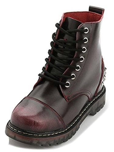 IDIFU Womens Dressy Studded Round Toe Lace Up Motor Boots Ankle Booties Low Heels Red VX0czcwuP5