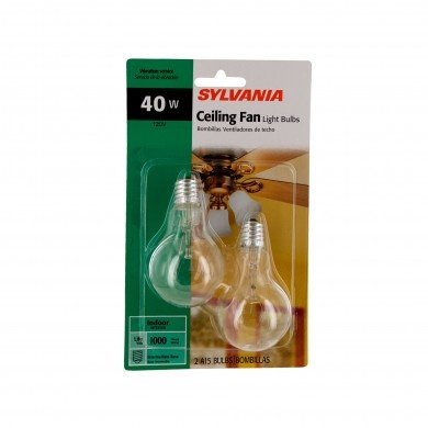 SYLVANIA 40-Watt A15 -Clear- Ceiling Fan Bulbs - Intermdiate Base 2-Pack X22076