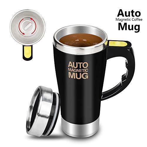 Travel Mug Auto - EForces Stirring Mug, Self Stirring Coffee Mug, Stir Mug Self Stirring Cup & Auto Stirring Mug for Coffee Stirring, Office, Kitchen, Home, Travel, Gift Mug, Mix Cup -Black