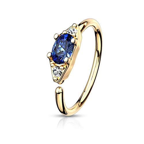 Amelia Fashion 20 Gauge Oval CZ Center Set Gold Bendable Nose Ring Hoop for Nose, Eyebrow, Ear Cartilage All Surgical Steel (Choose Color) (Clear/Blue)