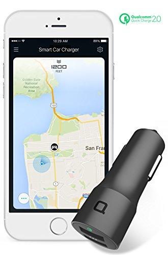 nonda Quick Charge 2.0 30W 2-port Smart Car Charger with Car Locator/Car Battery Monitor/Mileage Tracker App for iPhone,iPad,Galaxy Note 4/5/Edge,S7/S7 Edge/S6/S6 Edge/S6+,LG,HTC and more