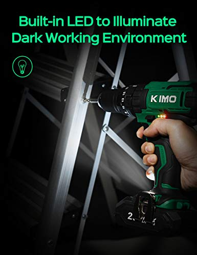 KIMO Cordless Drill Driver Kit, 20V Impact Drill Set w/Lithium-ion Battery/Charger & Cleaning Brush, 350 In-lb Torque, 3… 4