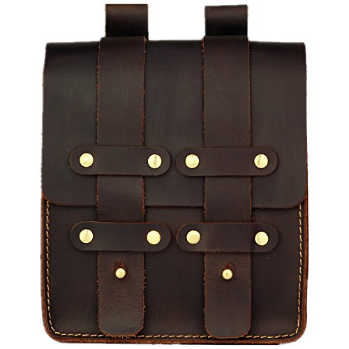 LXFF Mens Medieval Leather Fanny Pack Waist Bag Belt Pouch Hip Bum Bags for Men Vintage Coffee