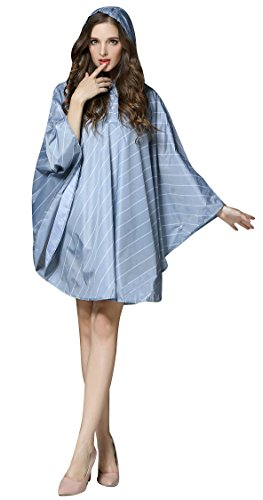 Raincoat Zipper Waterproof Ouvin Outdoor Lightweight Packable Hooded Rain Stripe Poncho With Blue Women's q8wzPqOx4
