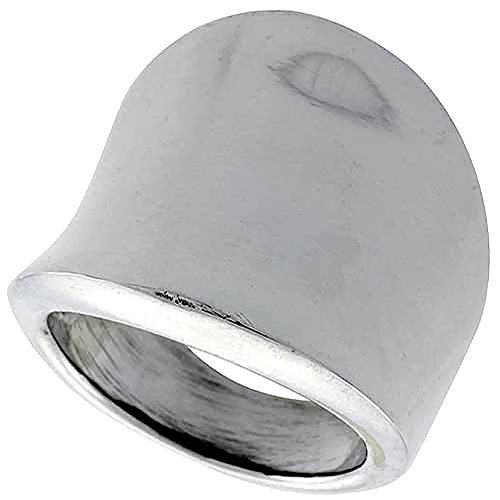 Sterling Silver Concave Cigar Band Ring for Women 7/8 inch long size 12