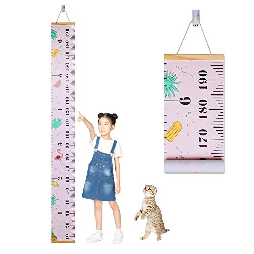 Accmor Growth Chart for Kids, Wood Frame Fabric Canvas Kids Growth Chart Height Measurement Ruler with Removable Hook, Cute Hanging Wall Ruler Baby Growth Chart for Child (Pink) ()