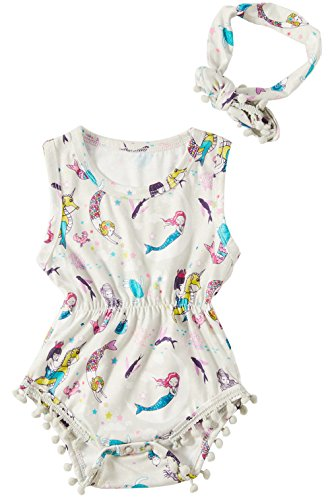 Leapparel Unisex Newborn Infant Cool Mermaid Ruffle T Shirt Little Kids Jumpsuit Short Sleeve Dress Baby Girl 100% Cotton One-Piece Bodysuit Rompers,White Mermaid,0-3Months (Size 70) ()