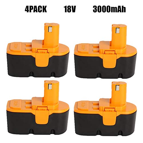 VANON 4Pack 3000mAh 18V Battery Replacement for Ryobi ONE+ P100 P107 P108 P122 P104 P105 P102 P103 Tool
