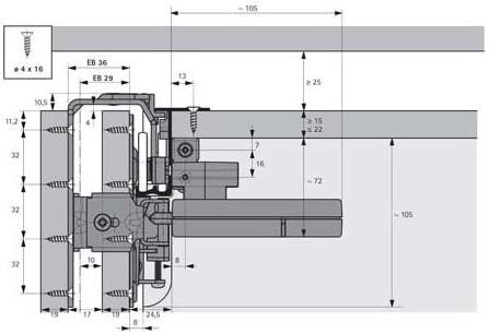 1 Garnitur D/ämpfer T/ürlauf v Oberboden TopLine 22 Silent System Flexible 50 2-t/ürig 9084432