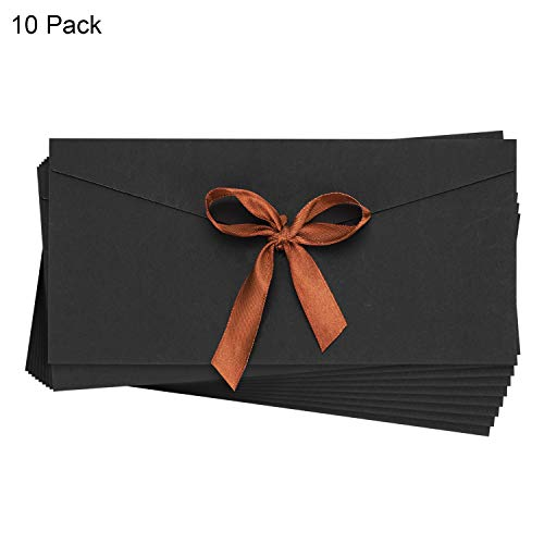 10 Pack Kraft Envelopes Large Size V-Flap Envelopes for Gift Card Invitation Letters Wedding Birthday Party 7.8 x 4.3 Inches Reusable Ribbon Closure