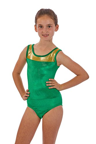 Lizatards Girls Gymnastics Leotards Two Tone with Insert on Back Comes in Girls and Adult Sizing (Green, Girls XL (14))