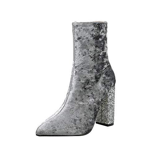 Media Para Tacón Nieve Luckygirls Botitas Caña De 10cm Martin Gris Zapatos Botín Botas Mujer Cuadrado Brillante RwxPBq8