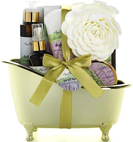 Spa Gift Baskets For Women - Luxury Bath Set With Lavender & Tea Tree Oil - Spa Kit Includes Body Wash, Bubble Bath, Lotion, Bath Salts, Body Scrub, Body Spray, Shower Puff, and Towel