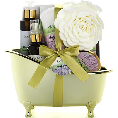 Spa Gift Baskets For Women - Luxury Bath Set With Lavender & Tea Tree Oil - Spa Kit Includes Body Wash, Bubble Bath, Lotion, Bath Salts, Body Scrub, Body Spray, Shower Puff, and Towel