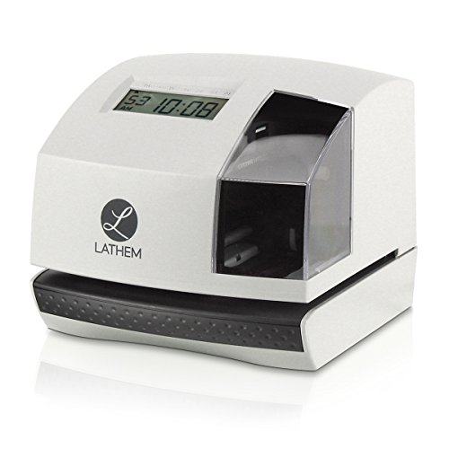 Lathem 100E Multi-Function Electronic Time Clock and Document Stamp, Can Be Mounted on Wall or Desk, Includes Key by Lathem