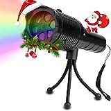 Glückluz Luces Proyector Navidad LED con 12 Diapositivas y Trípode Linterna para Niños Navidad Luces Decorativas para Fiesta Proyector de Luz Portátil y Seguro Buen Regalo para Niños Christmas Fiesta de Cumpleaños (Batería No Includida)