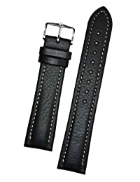 Hirsch Buffalo Black High Grain Leather Watch Strap 113202-50-22