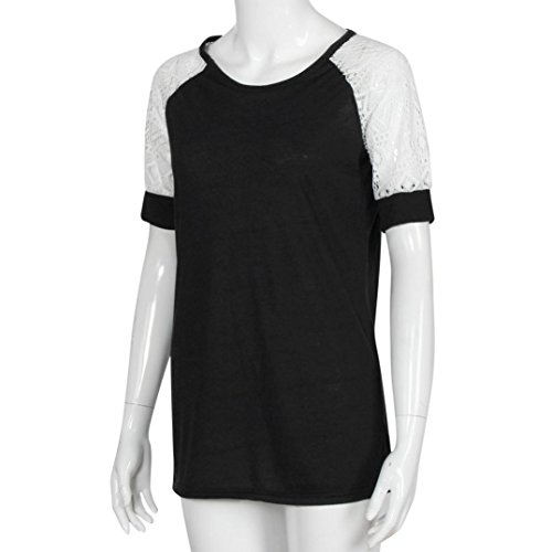 Ouneed Moda mujer verano manga corta blusa de encaje casual camiseta Negro