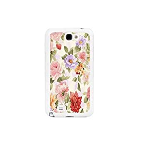 Vintage Floral Pattern Elegant Wartercolor Flowers Women Cover Hard Case Fit for Samsung Galax Note2 N7100 Unique Plastic Cell Phone Skin