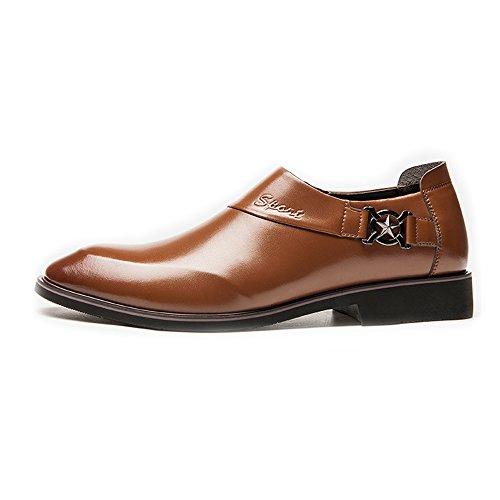 2018 Richelieus Homme, Chaussures d'affaires pour Hommes Lisse PU Cuir Supérieur Slip-on Doublure Respirante Oxfords (Trou Respirant en Option) (Color : Marron, Taille : 42 EU) Marron