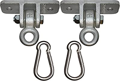 Jungle Gym Kingdom 2 Heavy Duty Swing Hangers for Wooden Sets Playground Porch Indoor Outdoor Seat Trapeze Yoga & Hanging Steel Snap Hooks | 1260 lb Capacity | Ebook Install Guide