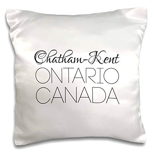 3dRose Alexis Design - Canadian Cities - Chatham Kent Ontario, Canada. Chic, Unique Patriotic Home Town Gift - 16x16 inch Pillow Case - Chatham Satin