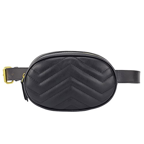 Belted Quilted Belt - ZORFIN Quilted Fanny Pack for Women Fashion Wasit Bag with Two Belts