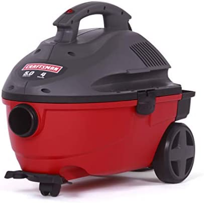 CRAFTSMAN 17612 4 Gallon 5.0 Peak HP Wet Dry Vac, Portable Shop Vacuum with Attachments