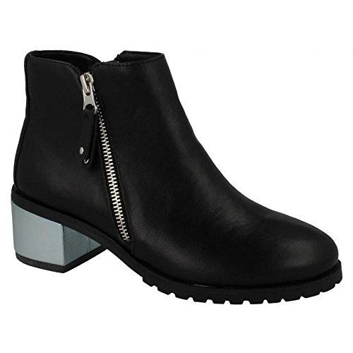 Anne Michelle Kvinnor / Damer Metalliska Blocket Hälen Boots Svart