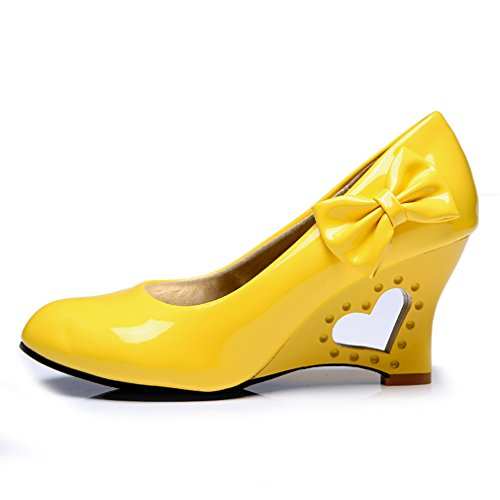 Blivener Womens Candy Colored Laklederen Pumps Met Hoge Hak Geel