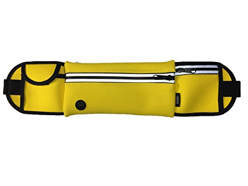 STOKE Activity Belt Waist Pack – Neoprene Running Belt Fanny Pack for Hiking Activity Fitness Dog Walking – Adjustable Running Pouch for iPhone Android Windows Large Phones (Yellow)