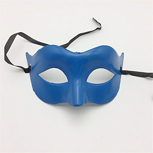 (Mardi Gras Party Masquerade Mask,Glamour Men Mask Halloween Makeup Prom Mask Ladies Solid Color Minimalist Half Face Zorro Mask Mask Blue Prom)