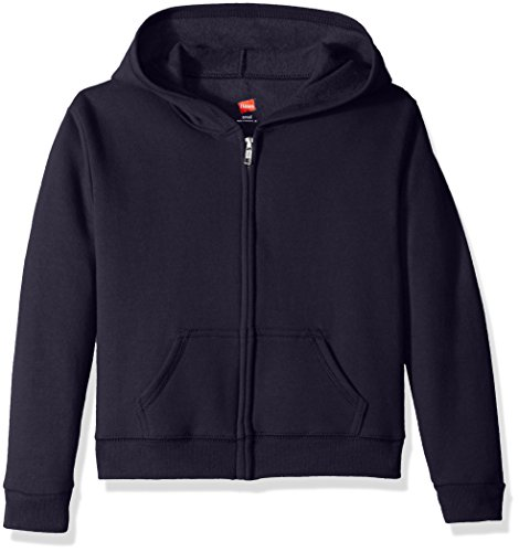 (Hanes Girls' Big Girls' Comfortsoft Ecosmart Full-Zip Fleece Hoodie, Navy, XL)