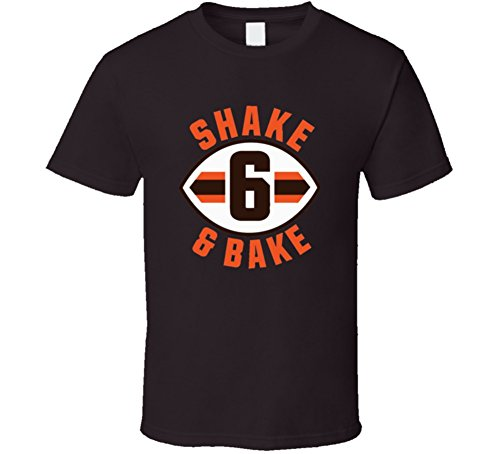 Baker Mayfield Shake and Bake Cleveland Football Distressed T Shirt XL Dark Chocolate