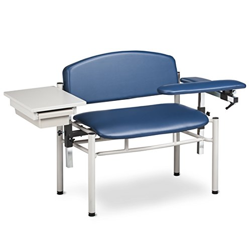 Phlebotomy Equipment - Royal Blue SC Series, Extra-Wide, Padded, Draw Chair w/ Padded Flip Arm & Drawer - CL-6069-U