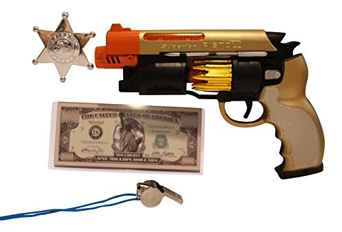 Imprints Plus Bundle Blade Runner Gold-Tone Toy Gun 7-Piece Bundle Includes LED Light-Up Machine Pistol with Realistic Gunfire Sounds for Dress-Up and Costume Accessories ( Batteries -