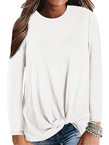 Soluo Clearance Women's Cute Twist Long Sleeve Blouse Casual Loose Waffle Knit Tunic Shirts Tops Tank pullover (XXXX-Large,white)