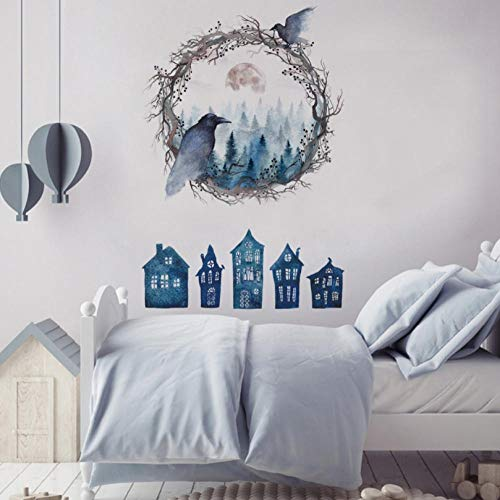 huaxiazu Halloween Home Decor Blue Haunted House Forest Ghost Bird Wall Sticker Bedroom Living Room Wall Decoration self-Adhesive Flower 65 X 95cm