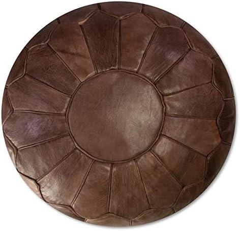bohemiamarrakech Leather Pouf Ottoman Leathe poufr Moroccan Pouf Leather Original Leather Pouf Ottoman Pouf Morrocan Leather Pouf Brown Darker 20X14 INCHES -Unstuffed Cover