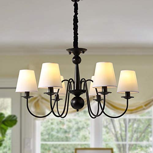 7PM Industrial Vintage 6-Lights Candle Chandeliers Lighting LED Ceiling Light Fixture Pendant
