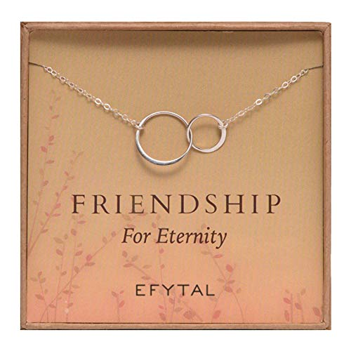 Gift Friendship - EFYTAL Sterling Silver Friendship for Eternity Necklace, Two Interlocking Infinity Circles Gift for Best Friend