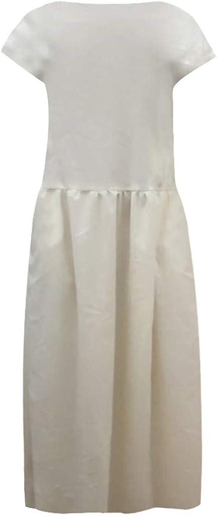 Womens Cotton Linen Dresses Cap Sleeve Summer Maxi O Neck Dress with Pockets