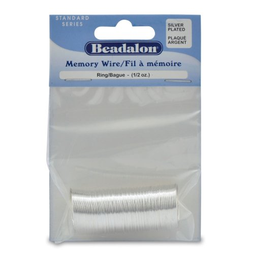 Beadalon Silver Plated Memory Wire Ring, 1/2-Ounce/Pkg, Approximately 99 - Wire Plated Silver Memory