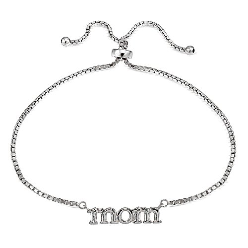 Sterling Silver Mom Words Polished Adjustable Pull String Chain Bracelet