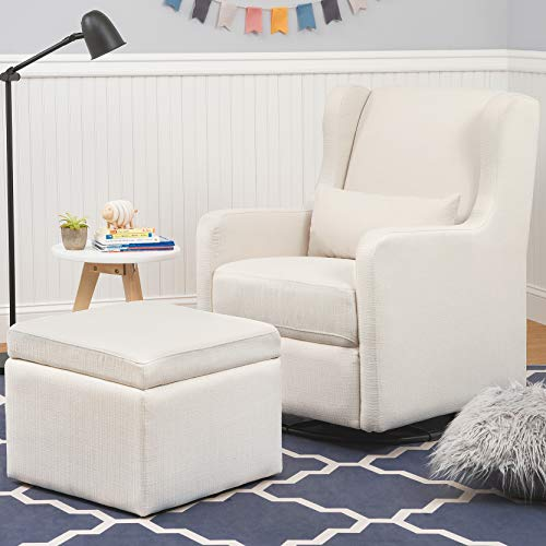 41vtenh5LvL - Carter's By Davinci Adrian Swivel Glider With Storage Ottoman In Cream Linen, Water Repellent And Stain Resistant Fabric, Greenguard Gold Certified