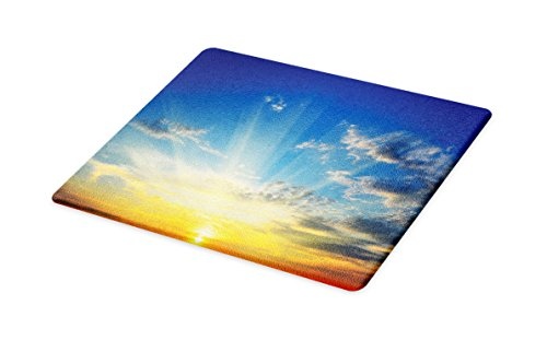 Lunarable Yellow and Blue Cutting Board, Beaming Sun Above the Horizon Majestic Sky Sunrise Serene Morning, Decorative Tempered Glass Cutting and Serving Board, Small Size, Blue Orange Yellow