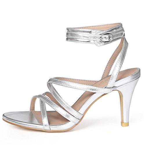 Front Heels Women Strap Cross Allegra K Tone Silver Ankle qORFan