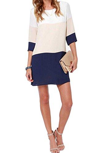 tkiames-women-chiffon-colorblock-crewneck-3-4-sleeve-tunic-loose-casual-swing-t-shirt-dress