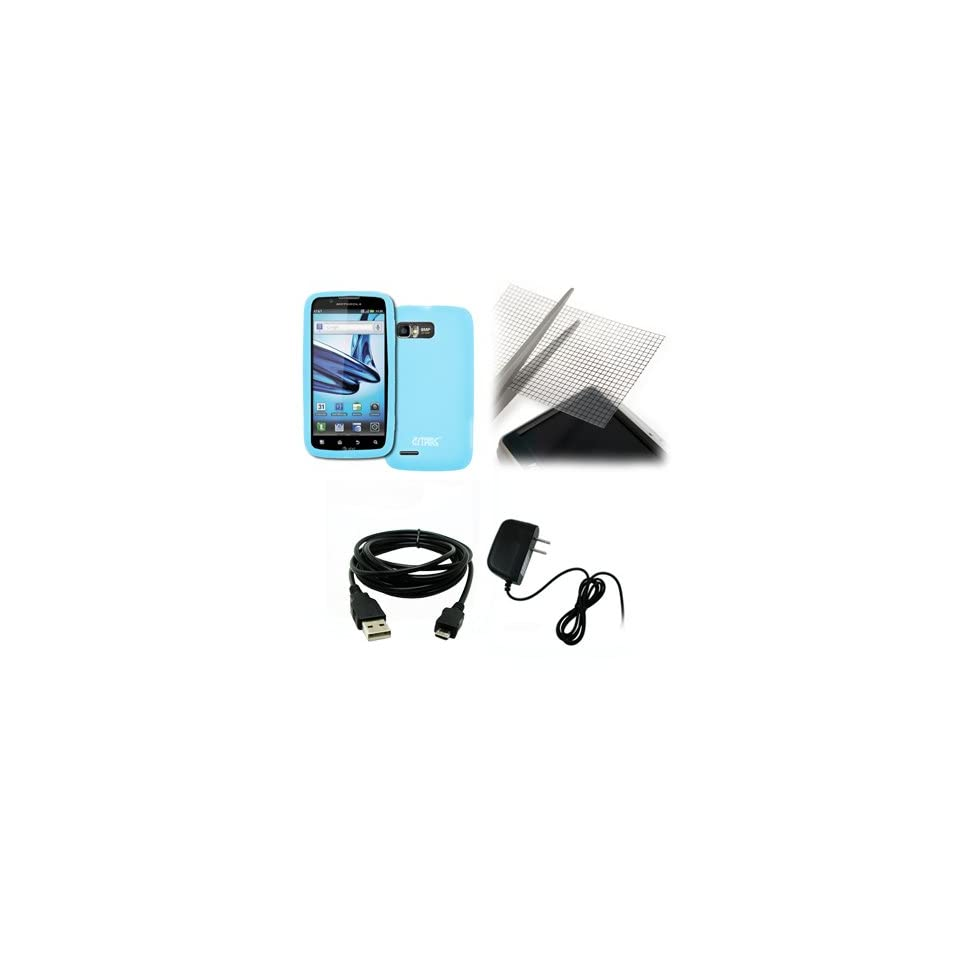 EMPIRE Motorola Atrix 2 Light Blue Silicone Skin Case Cover + Universal Screen Protector + Home Wall Charger + USB Data Cable [EMPIRE Packaging]